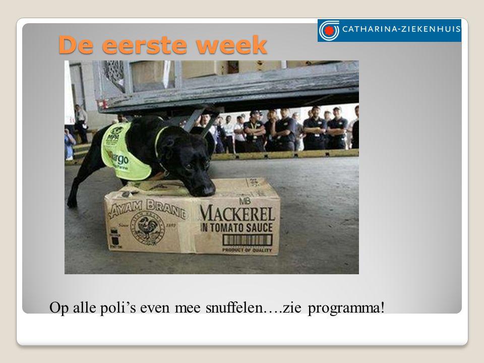 De eerste week Op alle poli's even mee snuffelen….zie programma!