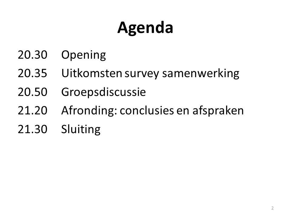 Agenda 20.30 Opening 20.35Uitkomsten survey samenwerking 20.50Groepsdiscussie 21.20Afronding: conclusies en afspraken 21.30Sluiting 2