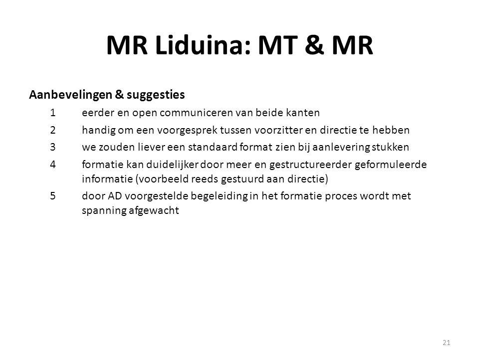 21 MR Liduina: MT & MR Aanbevelingen & suggesties 1eerder en open communiceren van beide kanten 2handig om een voorgesprek tussen voorzitter en direct