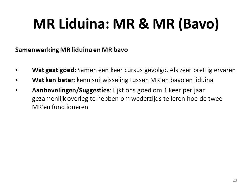 23 MR Liduina: MR & MR (Bavo) Samenwerking MR liduina en MR bavo Wat gaat goed: Samen een keer cursus gevolgd. Als zeer prettig ervaren Wat kan beter: