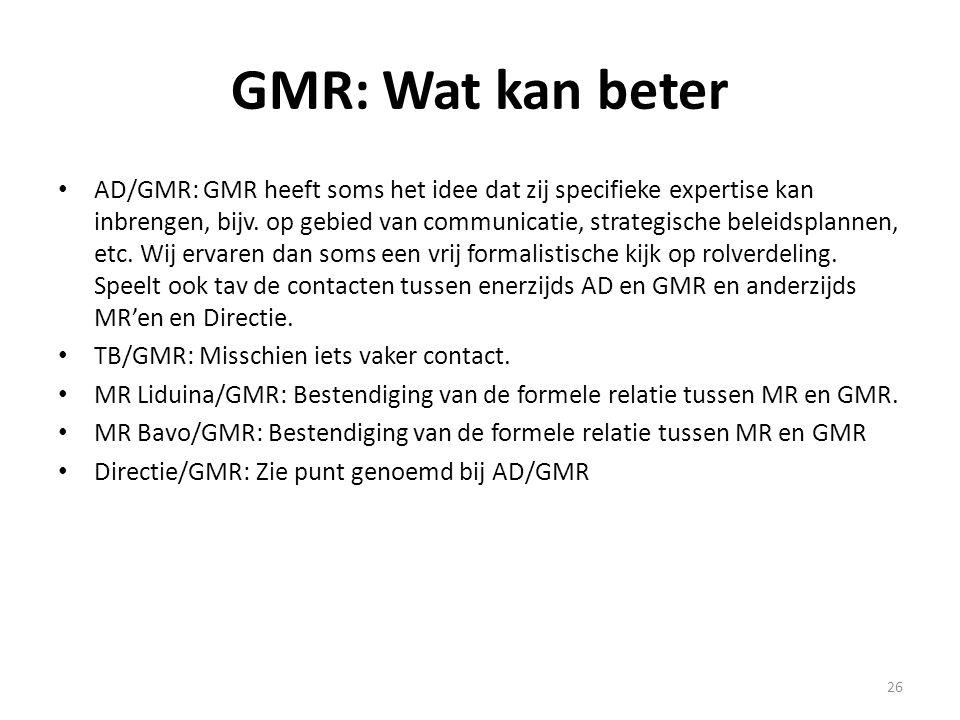 26 GMR: Wat kan beter AD/GMR: GMR heeft soms het idee dat zij specifieke expertise kan inbrengen, bijv. op gebied van communicatie, strategische belei