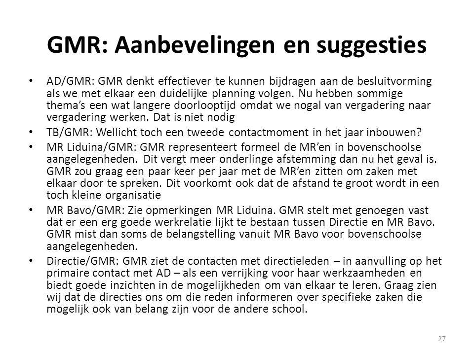 27 GMR: Aanbevelingen en suggesties AD/GMR: GMR denkt effectiever te kunnen bijdragen aan de besluitvorming als we met elkaar een duidelijke planning
