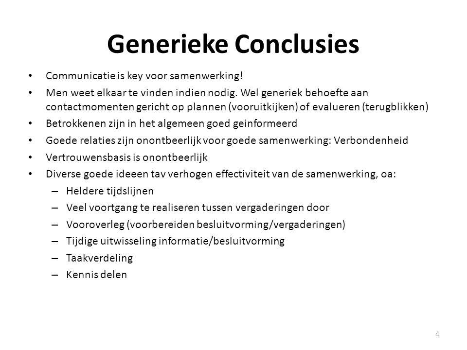 4 Generieke Conclusies Communicatie is key voor samenwerking! Men weet elkaar te vinden indien nodig. Wel generiek behoefte aan contactmomenten gerich