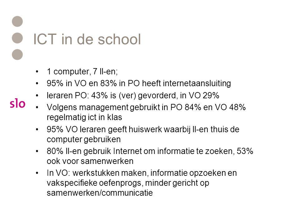 ICT in de school 1 computer, 7 ll-en; 95% in VO en 83% in PO heeft internetaansluiting leraren PO: 43% is (ver) gevorderd, in VO 29% Volgens management gebruikt in PO 84% en VO 48% regelmatig ict in klas 95% VO leraren geeft huiswerk waarbij ll-en thuis de computer gebruiken 80% ll-en gebruik Internet om informatie te zoeken, 53% ook voor samenwerken In VO: werkstukken maken, informatie opzoeken en vakspecifieke oefenprogs, minder gericht op samenwerken/communicatie