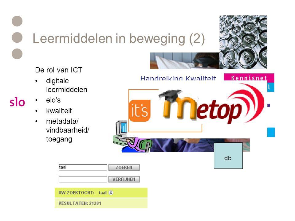 Leermiddelen in beweging (2) De rol van ICT digitale leermiddelen elo's kwaliteit metadata/ vindbaarheid/ toegang db edurep