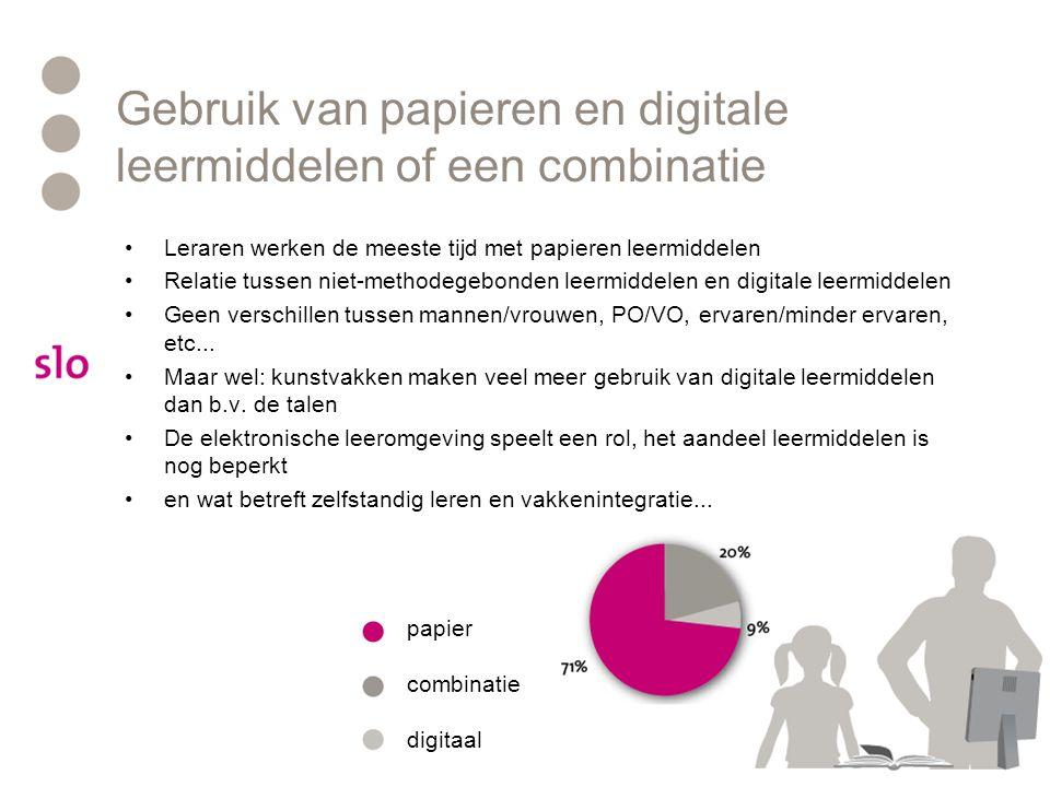 Gebruik van papieren en digitale leermiddelen of een combinatie Leraren werken de meeste tijd met papieren leermiddelen Relatie tussen niet-methodegebonden leermiddelen en digitale leermiddelen Geen verschillen tussen mannen/vrouwen, PO/VO, ervaren/minder ervaren, etc...