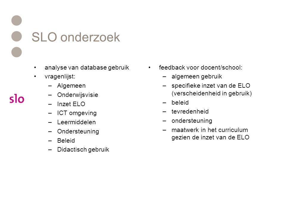 SLO onderzoek analyse van database gebruik vragenlijst: –Algemeen –Onderwijsvisie –Inzet ELO –ICT omgeving –Leermiddelen –Ondersteuning –Beleid –Didac