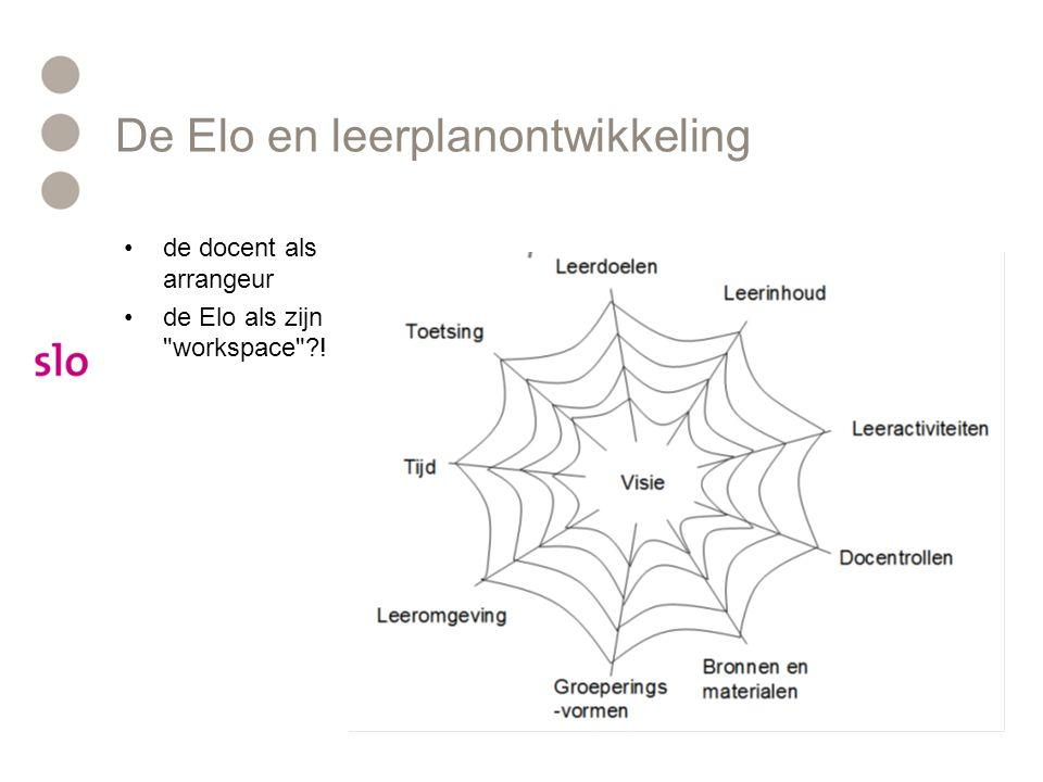 De Elo en leerplanontwikkeling de docent als arrangeur de Elo als zijn workspace ?!