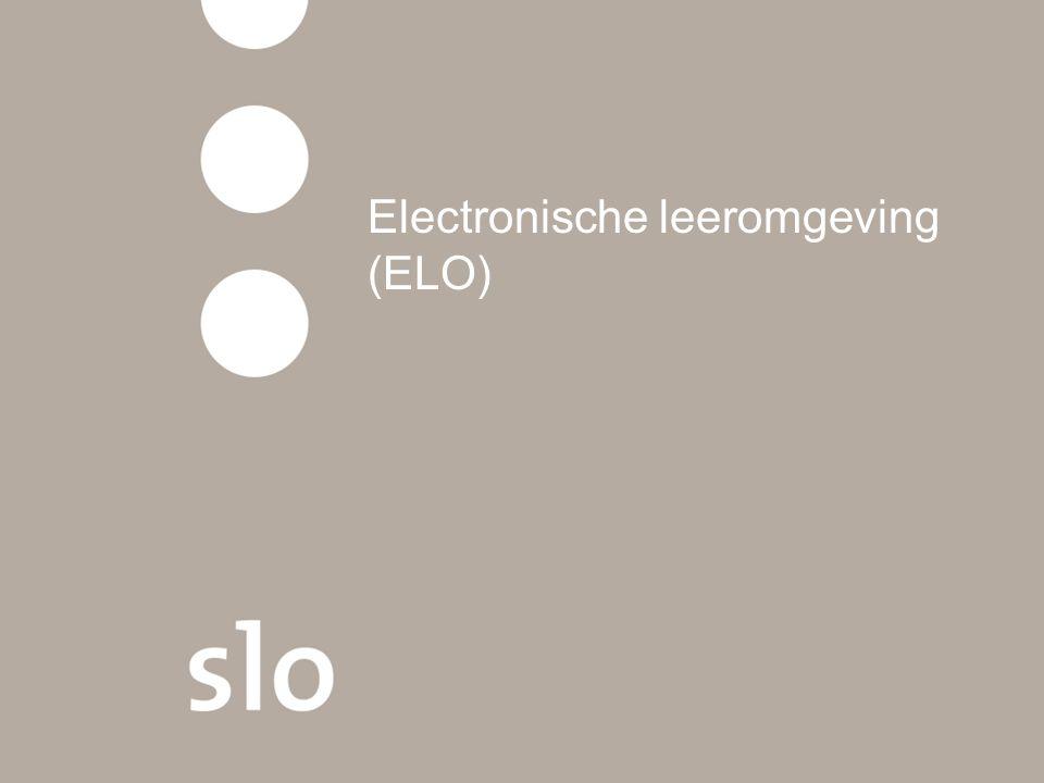 Elo en leermiddelen Speelt wel een rol, maar aandeel leermiddelen is nog beperkt In het VO werkt 44% (wel eens) met een elektronische leeromgeving De meest genoemde ELO's zijn TeleTOP, It's Learning en daarna Moodle en N@tschool 22% van de leermiddelen wordt door leraren in het VO die ELO's gebruiken via de ELO aangeboden