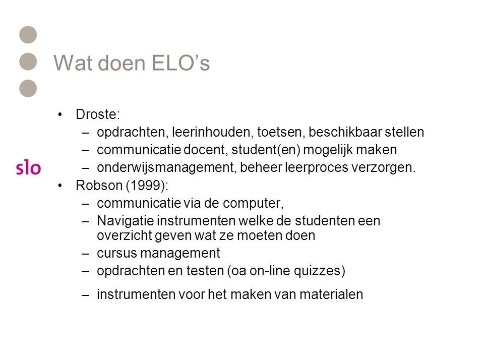 Wat doen ELO's Droste: –opdrachten, leerinhouden, toetsen, beschikbaar stellen –communicatie docent, student(en) mogelijk maken –onderwijsmanagement,
