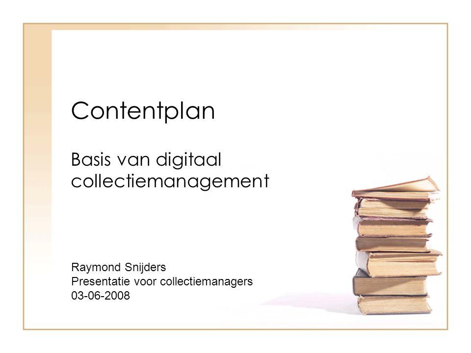 Contentbeheer Resultaat: een kwalitatief en volledig document om een bibliotheek goed en naar wens op te zetten.