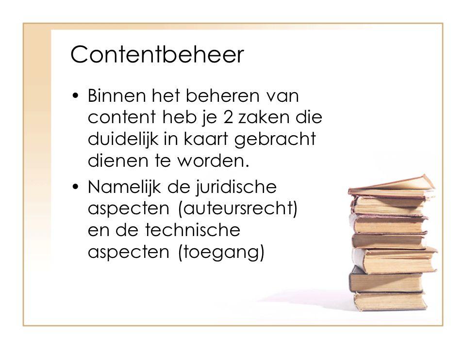Contentbeheer Auteursrecht aspecten Open Access (pdf van Surf)pdf van Surf Licentie- en business modellen van uitgevers Auteurswet als obstakel Hergebruik voor bibliotheken