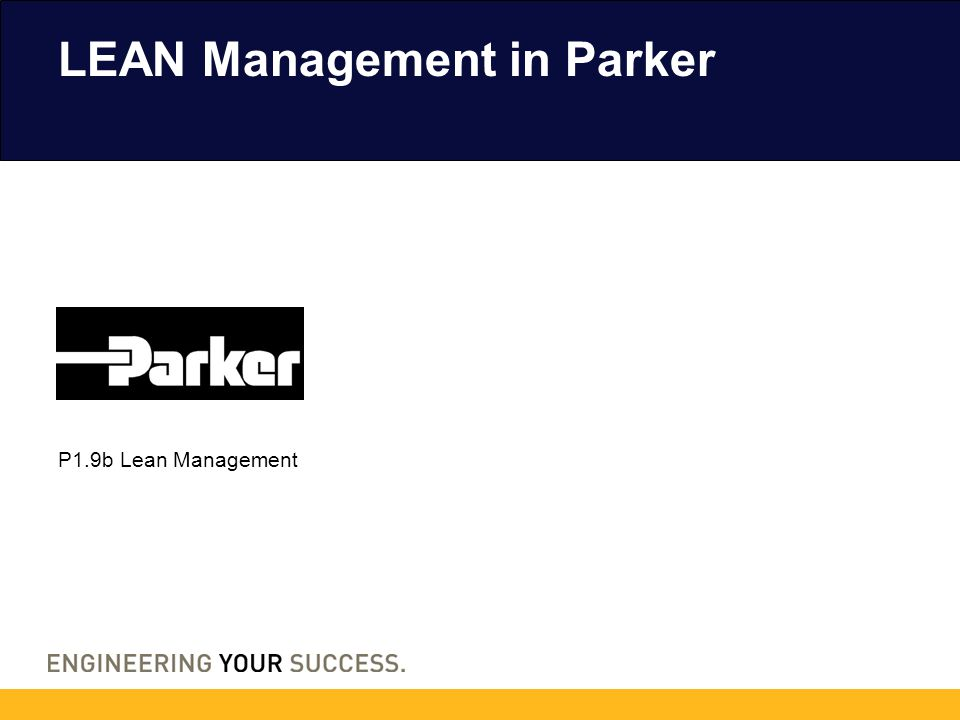 P1.9b Lean Management LEAN Management in Parker