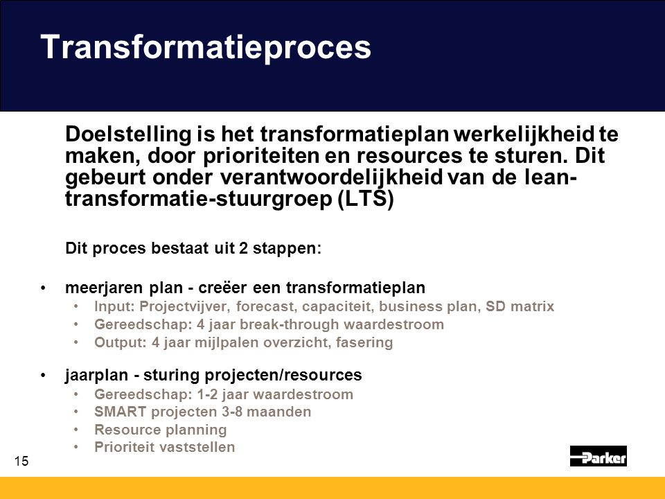 15 Transformatieproces Doelstelling is het transformatieplan werkelijkheid te maken, door prioriteiten en resources te sturen. Dit gebeurt onder veran