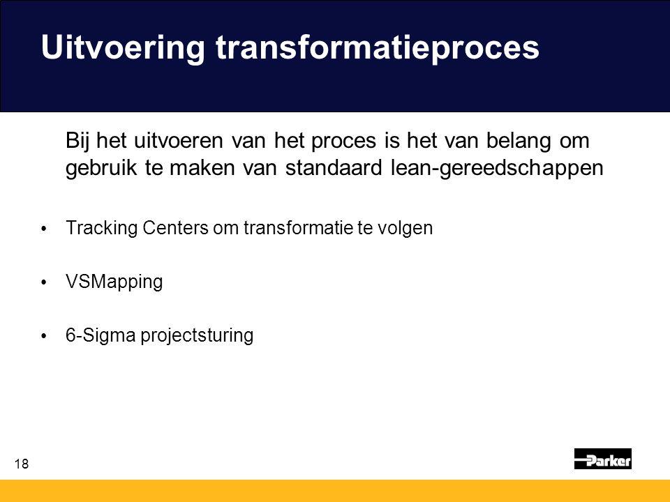 18 Uitvoering transformatieproces Bij het uitvoeren van het proces is het van belang om gebruik te maken van standaard lean-gereedschappen Tracking Ce