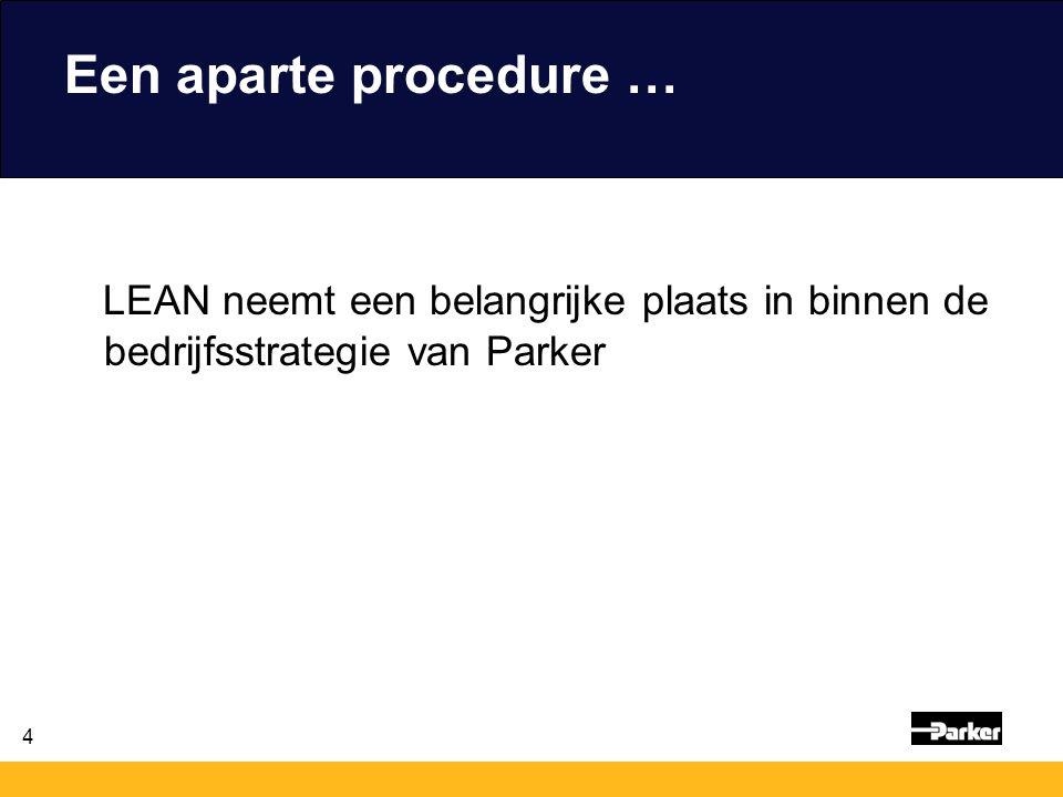 4 Een aparte procedure … LEAN neemt een belangrijke plaats in binnen de bedrijfsstrategie van Parker