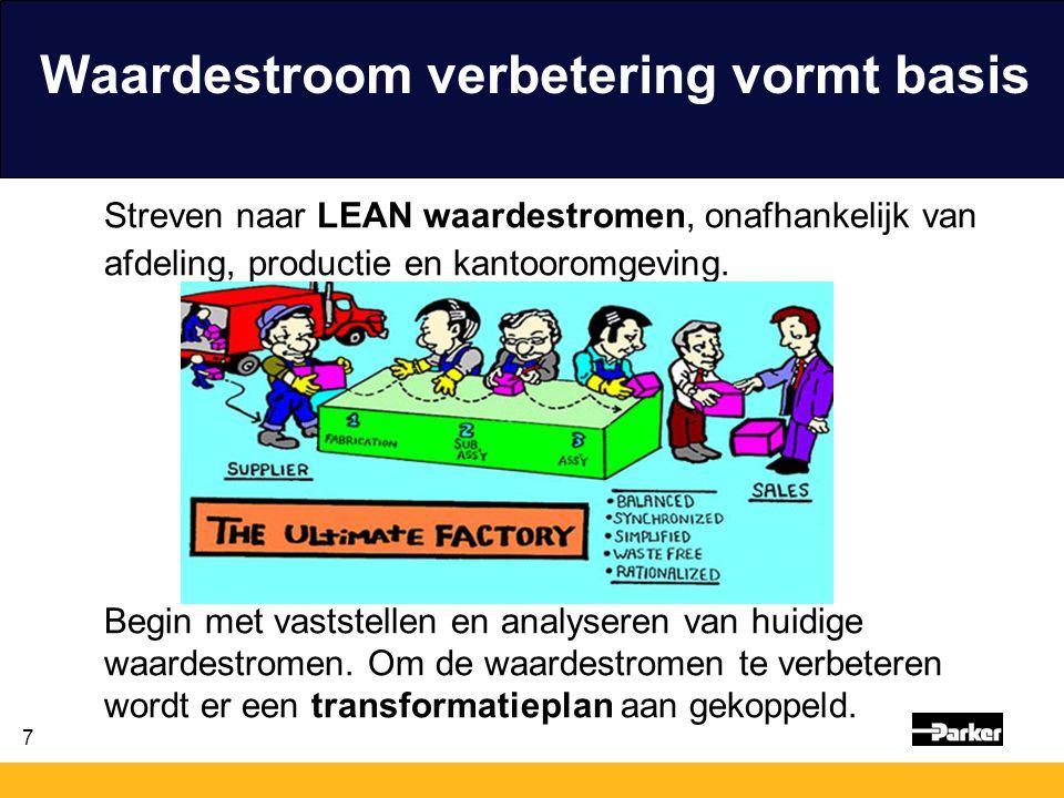7 Waardestroom verbetering vormt basis Streven naar LEAN waardestromen, onafhankelijk van afdeling, productie en kantooromgeving. Begin met vaststelle