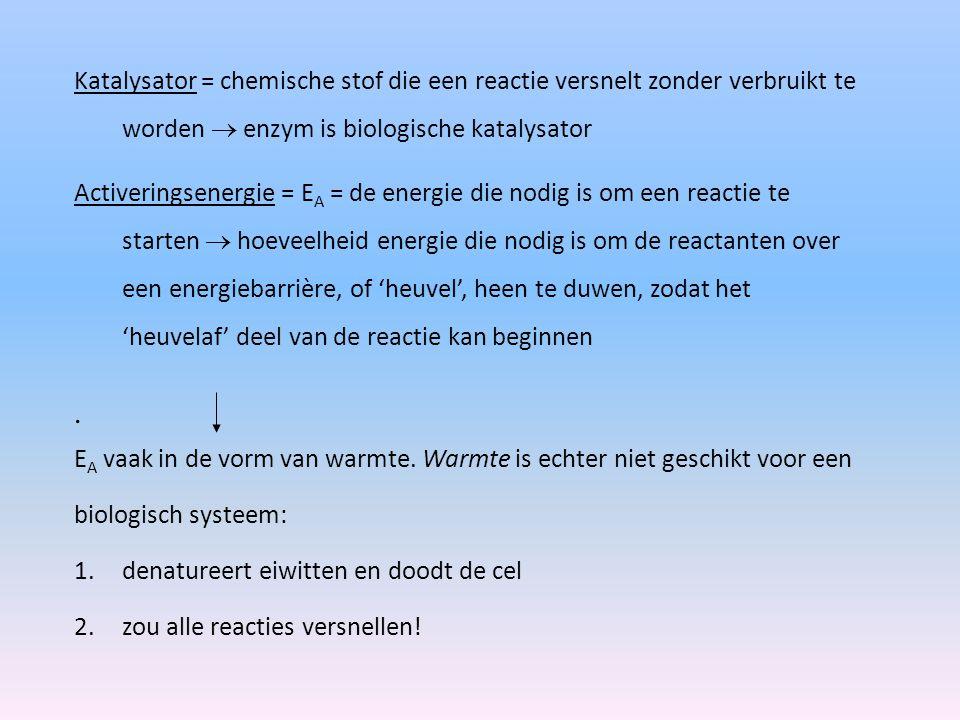 . Katalysator = chemische stof die een reactie versnelt zonder verbruikt te worden  enzym is biologische katalysator Activeringsenergie = E A = de en