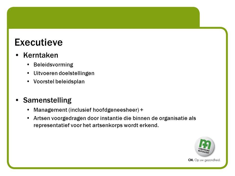 Executieve Kerntaken Beleidsvorming Uitvoeren doelstellingen Voorstel beleidsplan Samenstelling Management (inclusief hoofdgeneesheer) + Artsen voorge