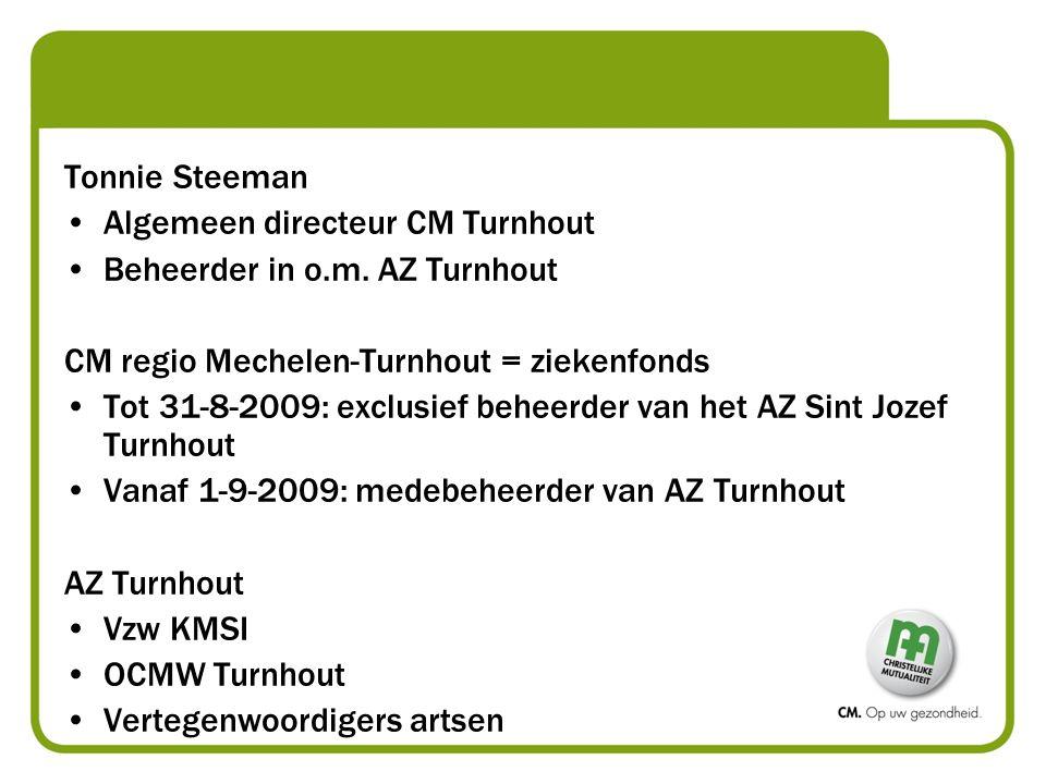 Algemeen directeur CM Turnhout Beheerder in o.m. AZ Turnhout CM regio Mechelen-Turnhout = ziekenfonds Tot 31-8-2009: exclusief beheerder van het AZ Si