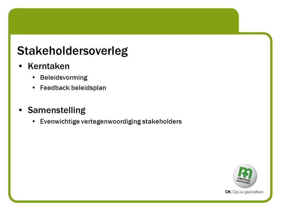 Stakeholdersoverleg Kerntaken Beleidsvorming Feedback beleidsplan Samenstelling Evenwichtige vertegenwoordiging stakeholders