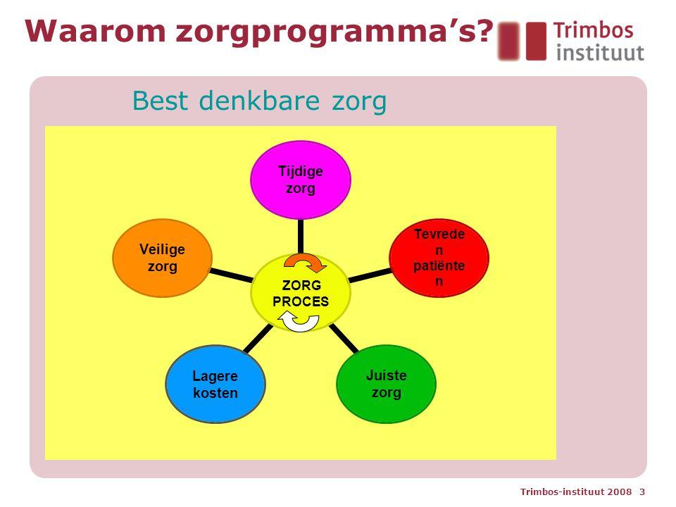 Trimbos-instituut 2008 3 Waarom zorgprogramma's? Best denkbare zorg