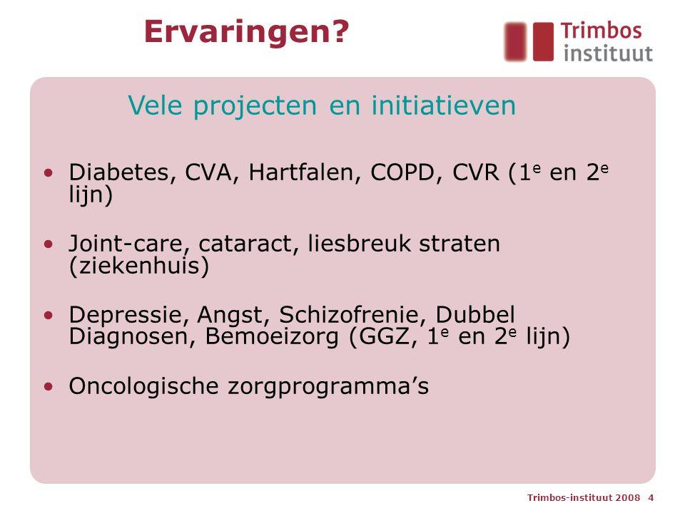 Trimbos-instituut 2008 4 Ervaringen? Diabetes, CVA, Hartfalen, COPD, CVR (1 e en 2 e lijn) Joint-care, cataract, liesbreuk straten (ziekenhuis) Depres