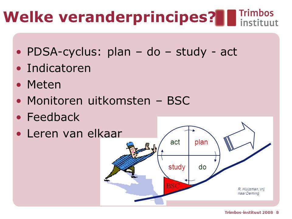 Trimbos-instituut 2008 8 Welke veranderprincipes? PDSA-cyclus: plan – do – study - act Indicatoren Meten Monitoren uitkomsten – BSC Feedback Leren van