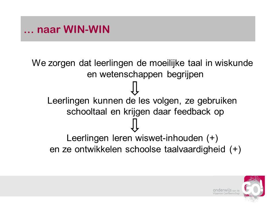 … naar WIN-WIN We zorgen dat leerlingen de moeilijke taal in wiskunde en wetenschappen begrijpen Leerlingen kunnen de les volgen, ze gebruiken schoolt