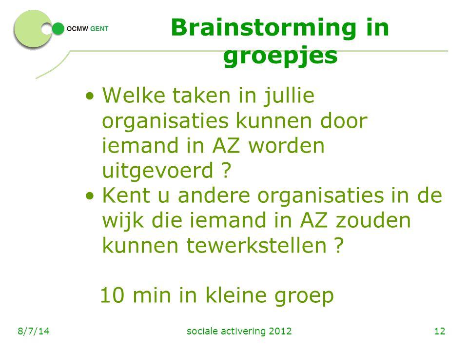 sociale activering 2012128/7/14 Brainstorming in groepjes Welke taken in jullie organisaties kunnen door iemand in AZ worden uitgevoerd ? Kent u ander