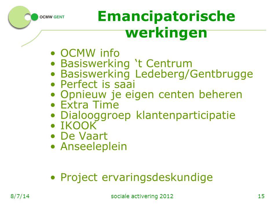 sociale activering 2012158/7/14 Emancipatorische werkingen OCMW info Basiswerking 't Centrum Basiswerking Ledeberg/Gentbrugge Perfect is saai Opnieuw