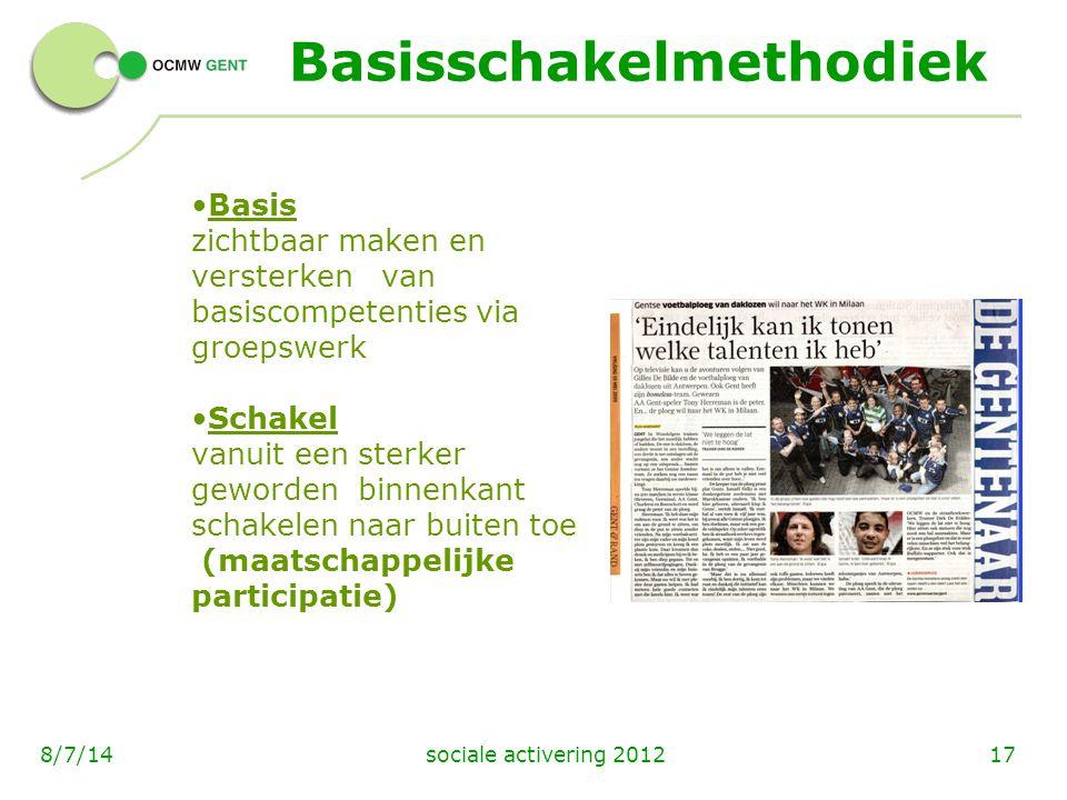sociale activering 2012178/7/14 Basisschakelmethodiek Basis zichtbaar maken en versterken van basiscompetenties via groepswerk Schakel vanuit een ster