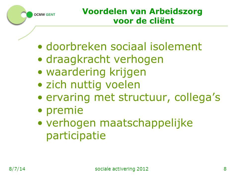 sociale activering 201288/7/14 Voordelen van Arbeidszorg voor de cliënt doorbreken sociaal isolement draagkracht verhogen waardering krijgen zich nutt