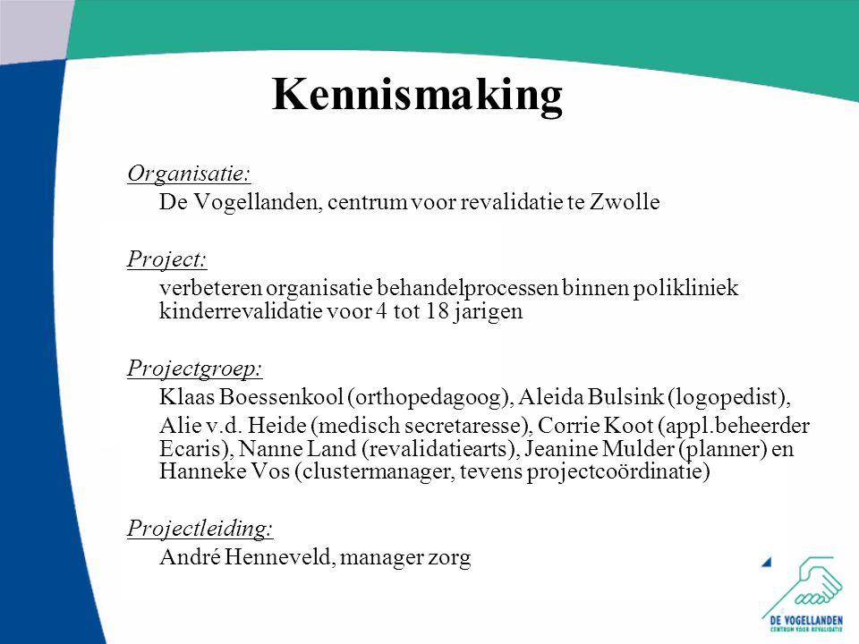 Organisatie: De Vogellanden, centrum voor revalidatie te Zwolle Project: verbeteren organisatie behandelprocessen binnen polikliniek kinderrevalidatie