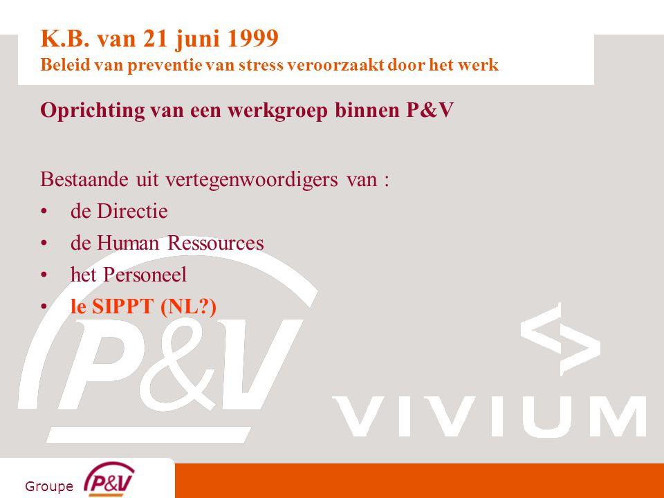 Groupe K.B. van 21 juni 1999 Beleid van preventie van stress veroorzaakt door het werk Oprichting van een werkgroep binnen P&V Bestaande uit vertegenw