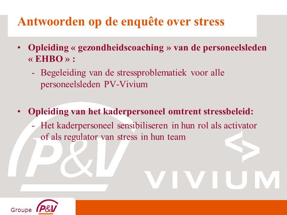 Groupe Antwoorden op de enquête over stress Opleiding « gezondheidscoaching » van de personeelsleden « EHBO » : -Begeleiding van de stressproblematiek
