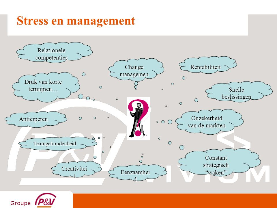 Groupe Stress en management Rentabiliteit Druk van korte termijnen… Change managemen t Onzekerheid van de markten Teamgebondenheid Eenzaamhei d Constant strategisch waken Anticiperen Creativitei t Snelle beslissingen Relationele competenties