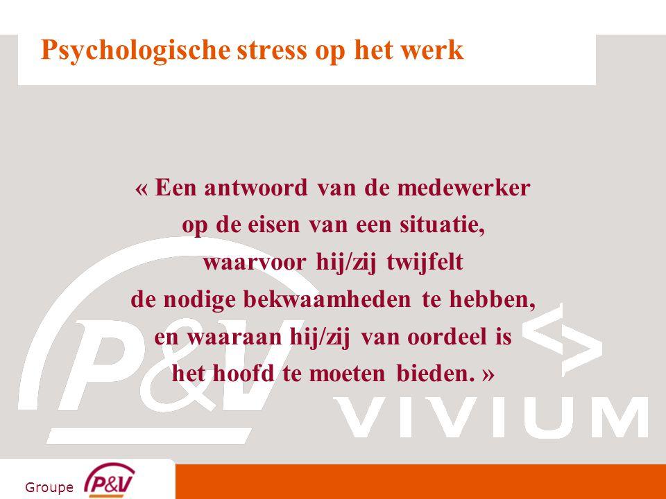 Groupe Psychologische stress op het werk « Een antwoord van de medewerker op de eisen van een situatie, waarvoor hij/zij twijfelt de nodige bekwaamhed