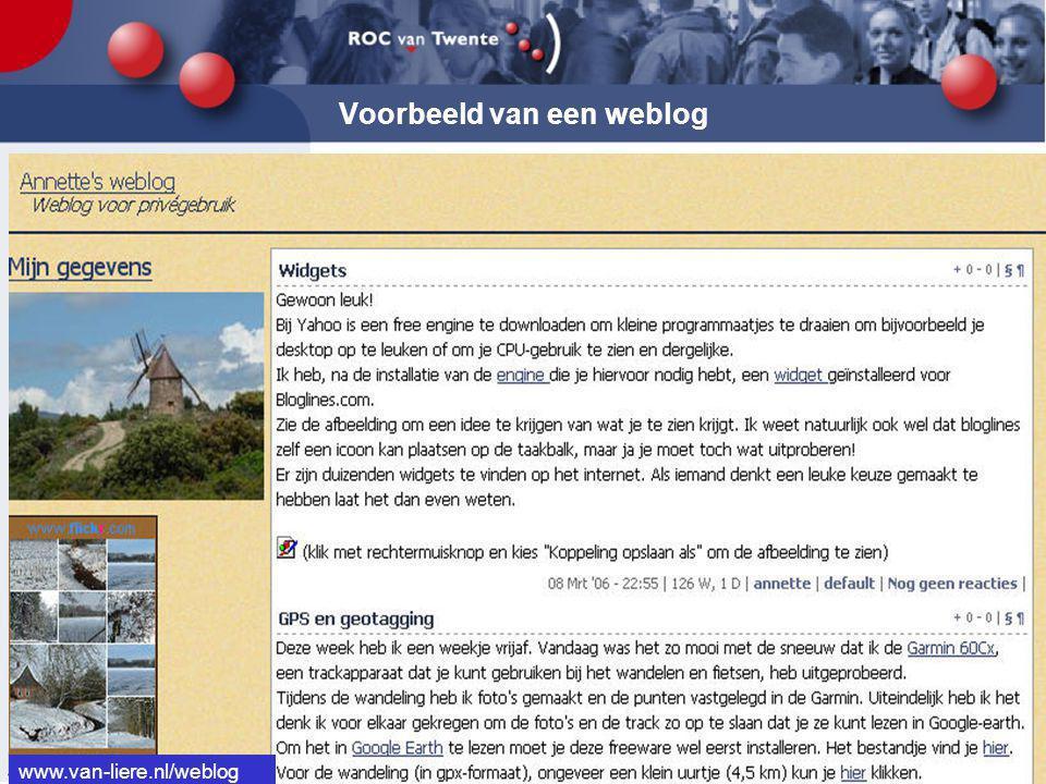 Voorbeeld van een weblog www.van-liere.nl/weblog