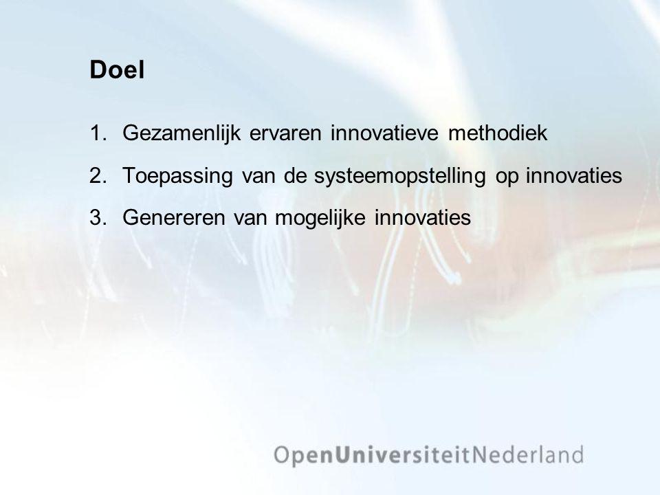 Doel 1.Gezamenlijk ervaren innovatieve methodiek 2.Toepassing van de systeemopstelling op innovaties 3.Genereren van mogelijke innovaties