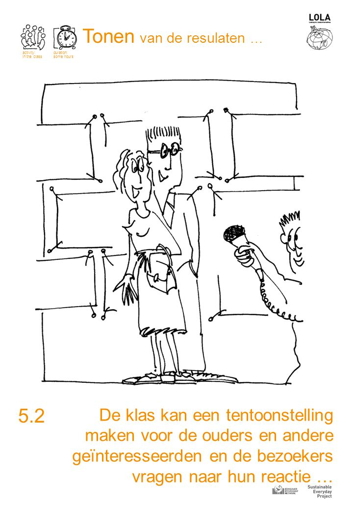 De klas kan een tentoonstelling maken voor de ouders en andere geïnteresseerden en de bezoekers vragen naar hun reactie … 5.2 activity: in the class duration: some hours Tonen van de resulaten …