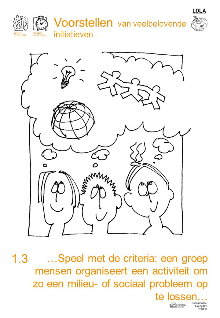 …ga kijken naar goed gekende voorbeelden van duurzame initiatieven in je eigen: mensen die samenwerekn, uitwisselen, delen, helpen… 1.4 activity: in the class duration: some hours Voorstellen van veelbelovende initiatieven…