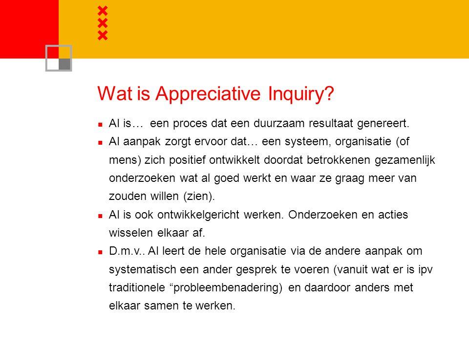 Wat is Appreciative Inquiry.AI is… een proces dat een duurzaam resultaat genereert.