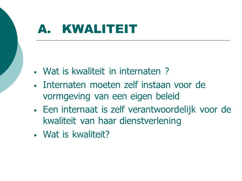 A.KWALITEIT Wat is kwaliteit in internaten .