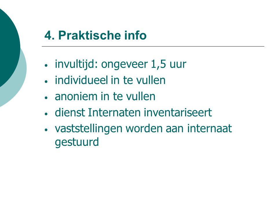 4. Praktische info invultijd: ongeveer 1,5 uur individueel in te vullen anoniem in te vullen dienst Internaten inventariseert vaststellingen worden aa