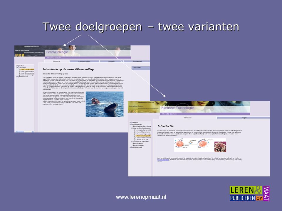 www.lerenopmaat.nl Publicatie op maat Maatwerk in mediaMaatwerk in media –print: losbladig, boek: –online interactief werkboek –ingebed in Blackboard –cd-rom (off line) –of mobiel (veldwerk)...