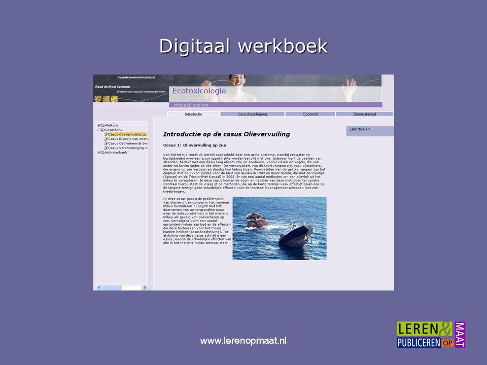 www.lerenopmaat.nl Feedback van digitaal werkboek naar tekstboek