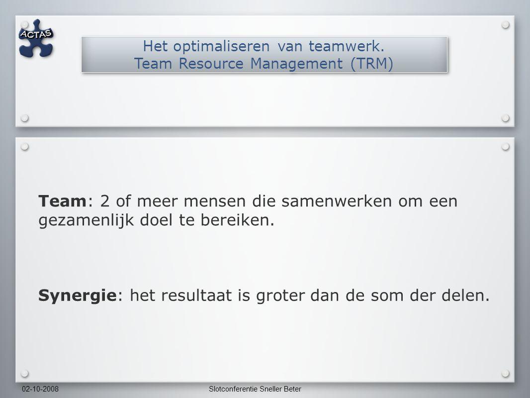 02-10-2008Slotconferentie Sneller Beter Team: 2 of meer mensen die samenwerken om een gezamenlijk doel te bereiken.