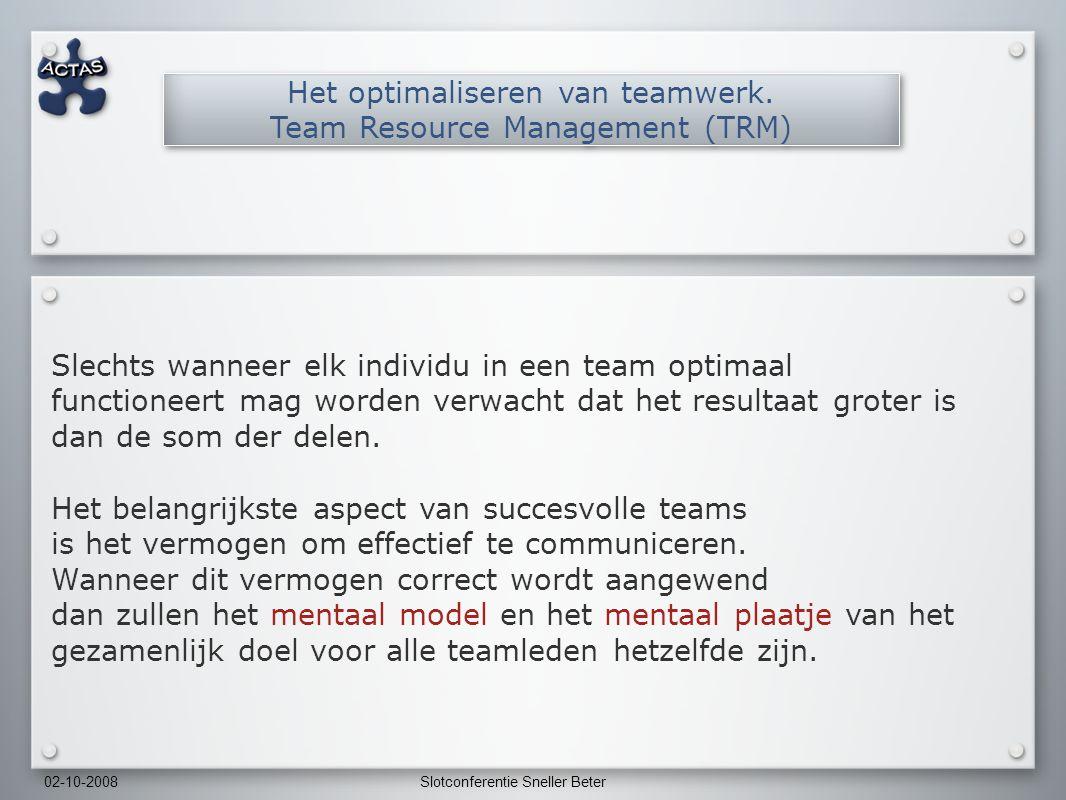 02-10-2008Slotconferentie Sneller Beter Slechts wanneer elk individu in een team optimaal functioneert mag worden verwacht dat het resultaat groter is dan de som der delen.