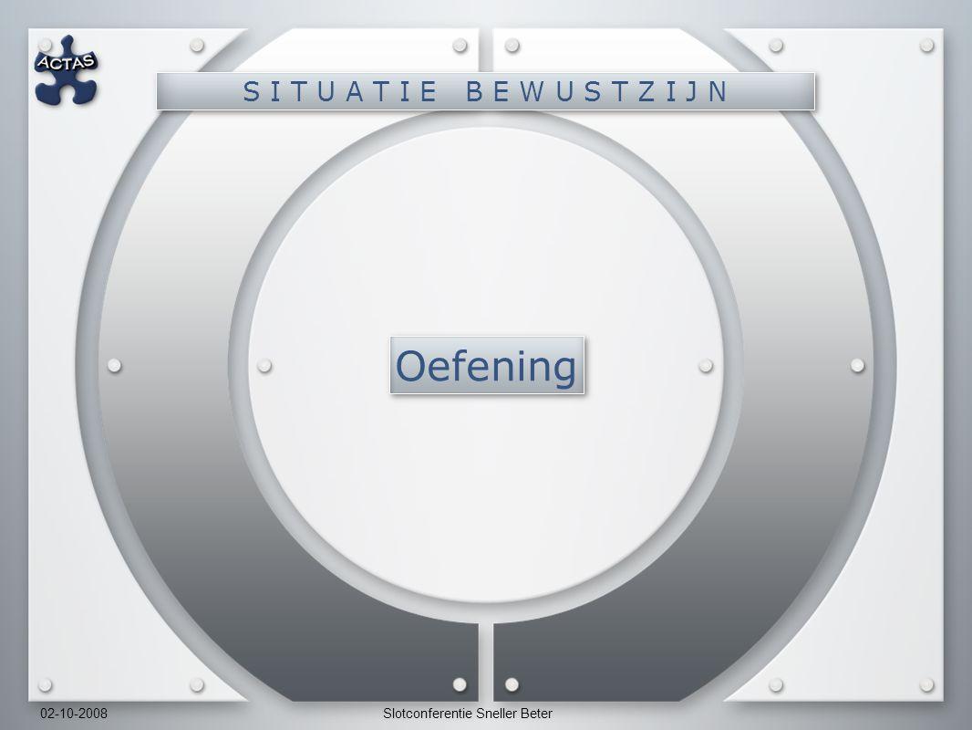 02-10-2008Slotconferentie Sneller Beter Oefening S I T U A T I E B E W U S T Z I J N